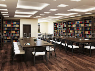 Contemporary Library Reading Room 3D Interior Designers with Seating area by Architectural and Design Services, New York - USA Yantram Architectural Design Studio Klasik