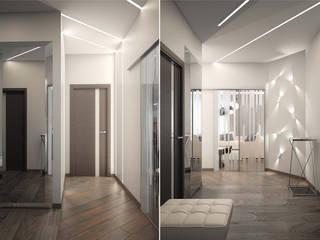 Minimalistyczny korytarz, przedpokój i schody od Студия дизайна интерьера 'Золотое сечение' Minimalistyczny