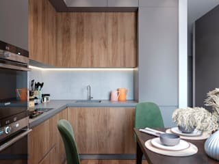 Студия дизайна 'INTSTYLE' Built-in kitchens Wood Grey