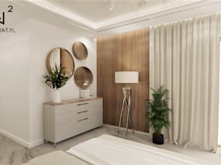 Wkwadrat Architekt Wnętrz Toruń Minimalist bedroom Marble Beige