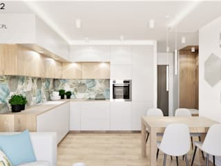 Wkwadrat Architekt Wnętrz Toruń Built-in kitchens Ceramic Turquoise