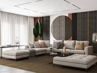 Wohnzimmer in warmen Erdtönen Moderne Wohnzimmer von GRIFFEL 3D DESIGN Modern