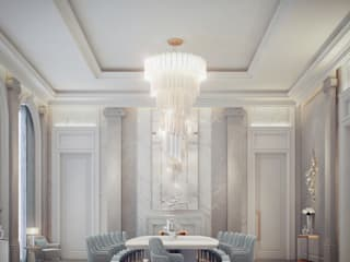 Palatial Dining Hall Interiors IONS DESIGN Minimalist dining room Stone Multicolored