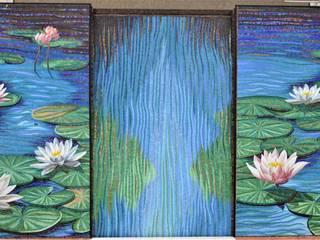 Nenufary Mosaico Arte e Mestieri - Pracownia mozaiki artystycznej Rustykalne domowe biuro i gabinet Szkło Niebieski