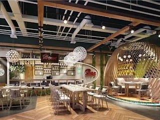 Use Artificial Plants in Interior Space Decor-- Restaurant Espacios comerciales de estilo moderno de Sunwing Industries Ltd Moderno