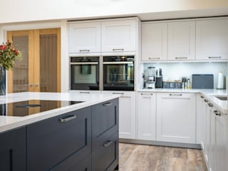 Large Natural white open space kitchen by PTC Kitchens Modern