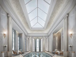 Indoor pool in Neoclassical Style Interior IONS DESIGN สระในสวน หิน White