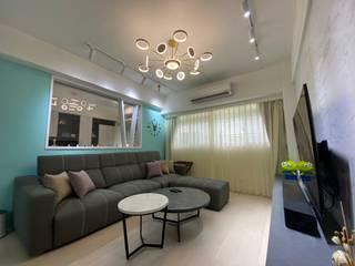延吉街裝修案 老屋翻新 年輕人最愛之設計風格 现代客厅設計點子、靈感 & 圖片 根據 捷士空間設計(省錢裝潢) 現代風