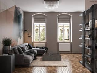 Wohnzimmer mit offener Küche in einer Altbauwohnung Moderne Wohnzimmer von GRIFFEL 3D DESIGN Modern