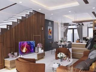 Mẫu nhà phố 1 trệt 3 lầu đẹp nhất 2020 Phòng khách phong cách châu Á bởi TNHH xây dựng và thiết kế nội thất AN PHÚ CONs 0911.120.739 Châu Á
