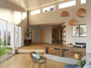 Casa Valle Alegre Futurista 3D Spa Livings de estilo rústico Acabado en madera