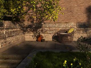 Patio Verde Futurista 3D Spa Jardines de estilo rural