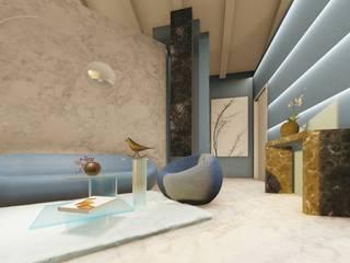 Un living avio e verde smeraldo Soggiorno moderno di Teresa Romeo Architetto Moderno