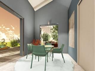 Un living avio e verde smeraldo Sala da pranzo moderna di Teresa Romeo Architetto Moderno