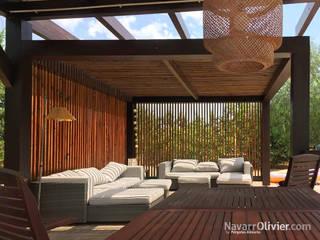 Modern balcony, veranda & terrace by NavarrOlivier Modern