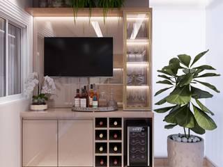 Giovanna Romero Arquitetura e Interiores Ruang Penyimpanan Wine/Anggur Modern Kayu Beige