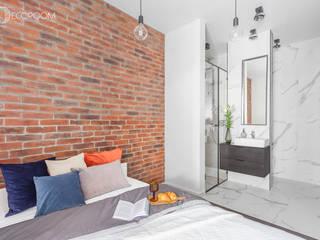 インダストリアルスタイルの 寝室 の Pracownia Architektury Wnętrz Decoroom インダストリアル