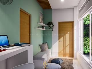 Rancang Reka Ruang Minimalist living room Bricks Green