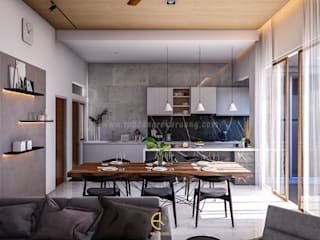 Rancang Reka Ruang Small kitchens Grey