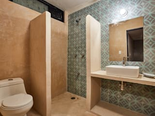 Quinto Distrito Arquitectura Tropical style bathrooms Tiles Green
