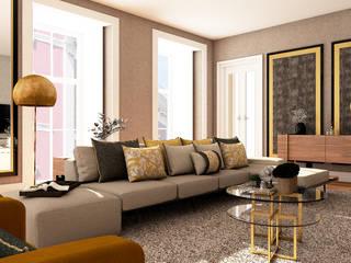 Projeto Chiado 4Ponto7 Sala de estarSofás e divãs Prata/Ouro Amarelo