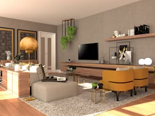 Projeto Chiado 4Ponto7 Sala de estarTV e mobiliário Prata/Ouro Amarelo
