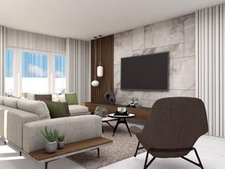 Projeto Estoril 4Ponto7 Sala de estarTV e mobiliário Mármore Verde