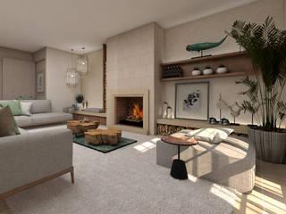 Projeto Tróia 4Ponto7 Sala de estarLareiras e acessórios Madeira Verde