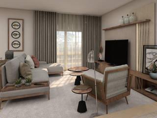 Projeto Tróia 4Ponto7 Sala de estarTV e mobiliário Madeira Verde