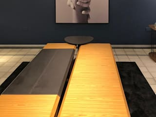 Arquitetura Sônia Beltrão & associados Minimalist living room Wood Blue