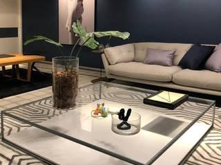 Arquitetura Sônia Beltrão & associados Minimalistische woonkamers Hout Blauw