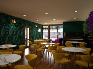 melania de masi architetto Moderne Bars & Clubs Holz Bernstein/Gold