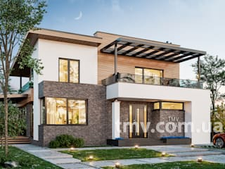 Стильный двухэтажный коттедж без гаража TMV 76A от TMV Architecture company