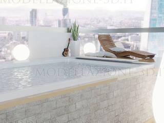 Terrazza con vista sulla skyline con vasca idromassaggio Balcone, Veranda & Terrazza in stile moderno di Alessandro Chessa Moderno