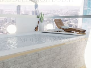 Alessandro Chessa Balkon, Beranda & Teras Modern