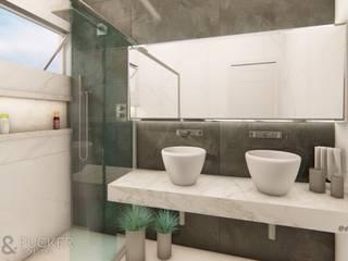Banheiro Suíte com Cuba de Apoio Dupla Banheiros modernos por Della&Pucker - Eng. Civil e Arquitetura Moderno