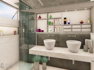 Banheiro Suíte com Cuba de Apoio Dupla por Della&Pucker - Eng. Civil e Arquitetura Moderno