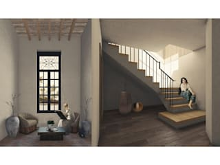 Cervantes Bueno arquitectura Koridor & Tangga Gaya Rustic Keramik Wood effect