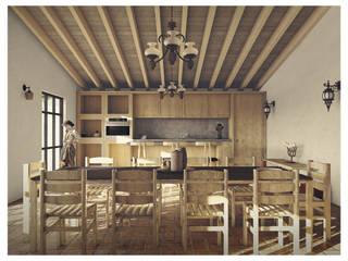 Cervantes Bueno arquitectura Ruang Makan Gaya Rustic Kayu Wood effect