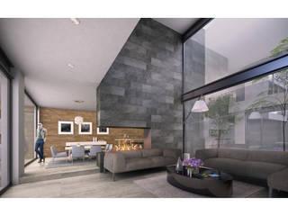 Cervantes Bueno arquitectura Ruang Keluarga Modern Beton Grey