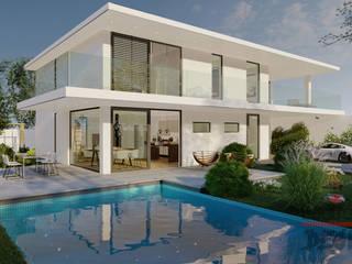 """Projekt und Visualisierung von """"Villa 1"""" - Innenarchitektur MITKO DESIGN Gartenpool"""