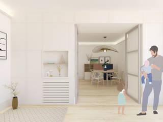 Scandinavian style corridor, hallway& stairs by Pia Estudi Scandinavian