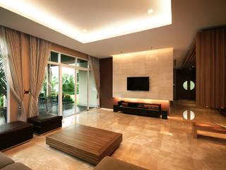 Modernize Design + Turnkey Ruang Keluarga Modern Ubin Amber/Gold