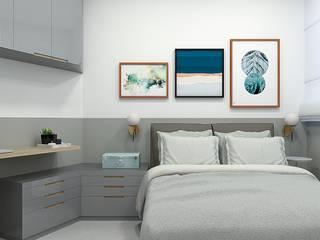 Studio-VF-Arquitetura Kamar tidur kecil Grey