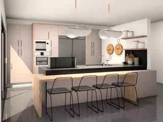 Elegant kitchen style, American style, in touch laminated / Elegante ambiente de cozinha, estilo americano, em termolaminado Touch por Movimar