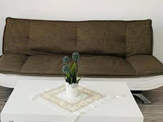 Palmiye Koçak Sandalye Masa Koltuk Mobilya Dekorasyon JadalniaKrzesła i ławy Jedwab Beżowy