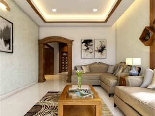 Monnaie Interiors Pvt Ltd Living roomLighting Wood Wood effect