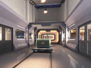 KMUTT x Charoenchai Modernize Design + Turnkey ห้องทำงาน/อ่านหนังสือ คอนกรีต Grey