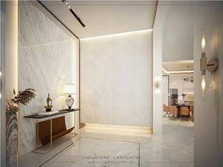 Singapore Carpentry Interior Design Pte Ltd 現代風玄關、走廊與階梯 大理石 White