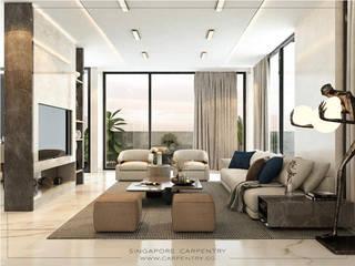 Singapore Carpentry Interior Design Pte Ltd 现代客厅設計點子、靈感 & 圖片 大理石 Amber/Gold